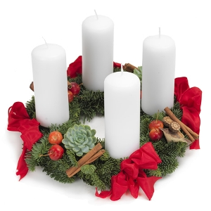 Advent wreath in red and white