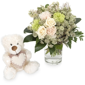 White bouquet with white bear