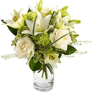 Bouquet in white, green and lime green