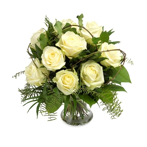 Bouquet of roses in white