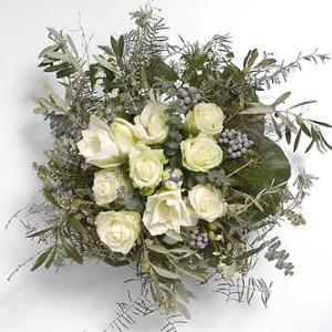 White flowers order white flowers and delivery of white flowers in round white bouquet mightylinksfo