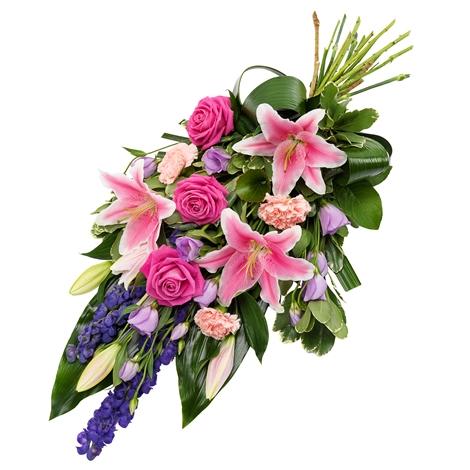Rouwboeket paars en roze