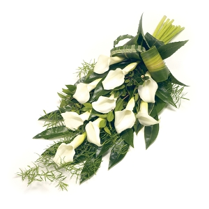 Funeral bouquet with white callas