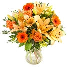 Orange bouquet with lilies