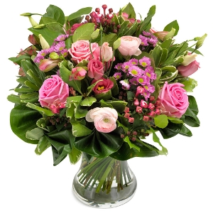 Pink bouquet with various types of green