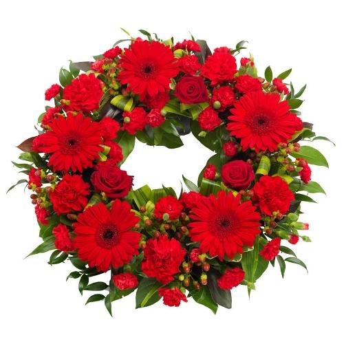 Rode rouwkrans