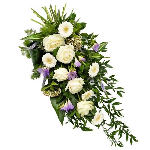 Wit en lila rouwboeket
