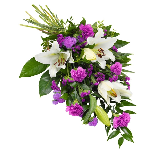 Lily and carnations mourning bouquet