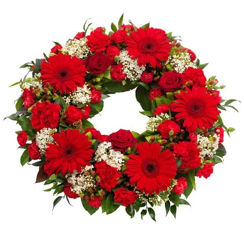Rode rouwkrans met wit