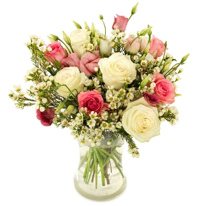 Pink roses bouquet with white