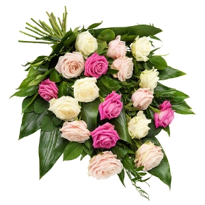Funeral bouquet with pink and white roses