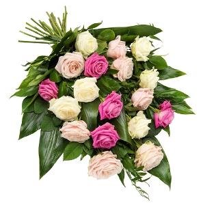 Rouwboeket met rose en witte rozen