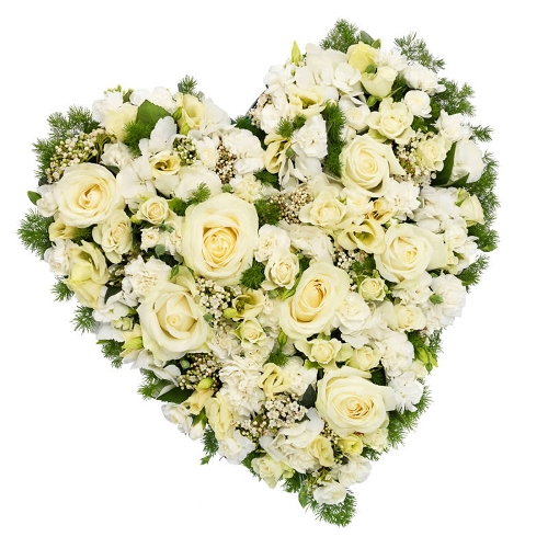 Wit hartvormig rouwstuk