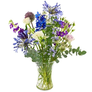 Blue, purple and white field bouquet