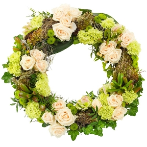 Green-white mourning wreath