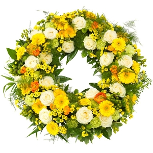 Green-yellow mourning wreath