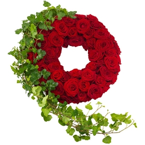 Red roses mourning wreath
