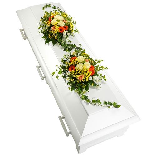 Geel, wit en oranje arrangement