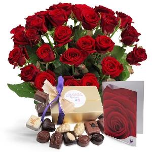 Cadeauset rode rozen en chocolade